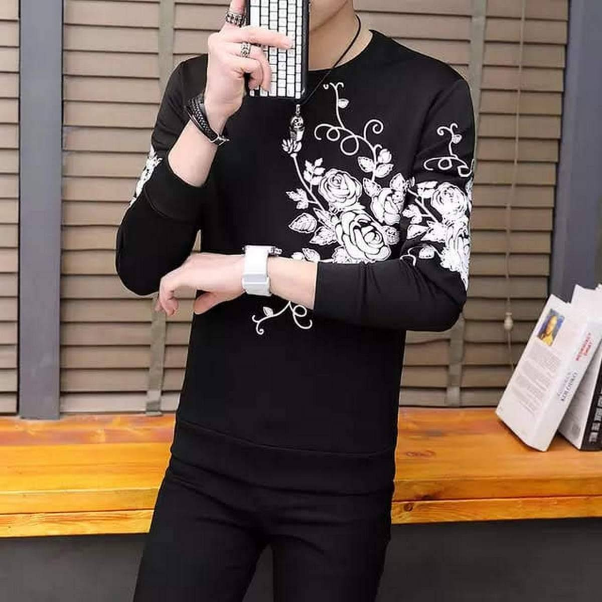 Jumper T-Shirts Flower Print Full Sleeves, For Summer Party wear ,2021 best Collection full stitched shirt, easy wash ready to wear).