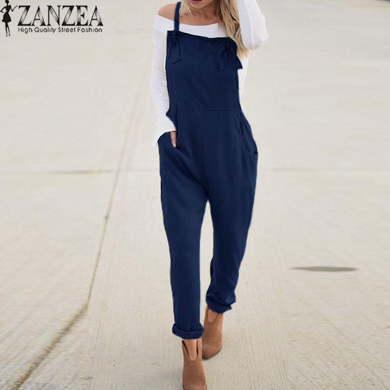 88496be5109d ZANZEA Women Long Bib Pants Dungarees Jumpsuit Romper Plus Size Overalls