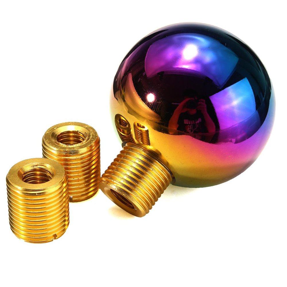 Heavy Weighted Round Ball Polish Neo Chrome Shifter Lever Shift Knob