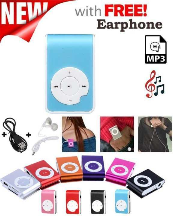 Dolby Digital Plus Mini Pocket Size Mp3 Player Support 16 Gb Memory Card With Data Cable & Earphone - Matte Blue