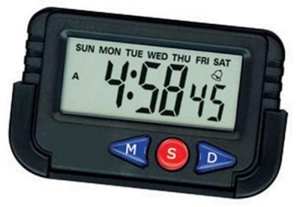 Mini Digital Table Clock Desk Car Calendar Watch - Black