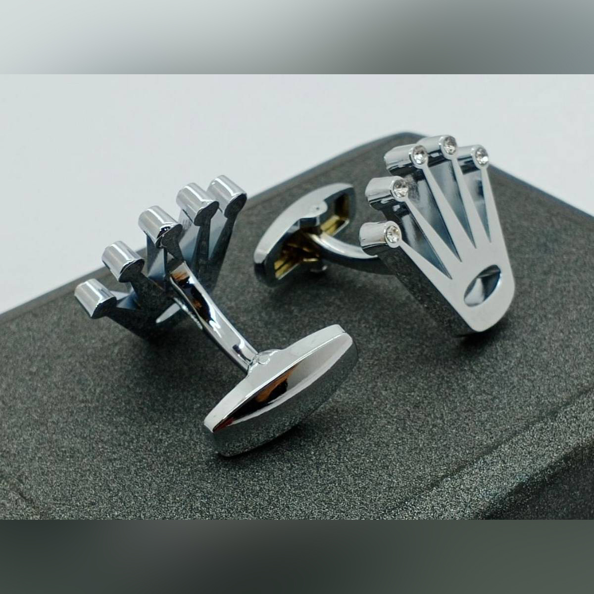 Silver Crown Cufflink For Men Golden with Black Studs Office Party & Casual Wear