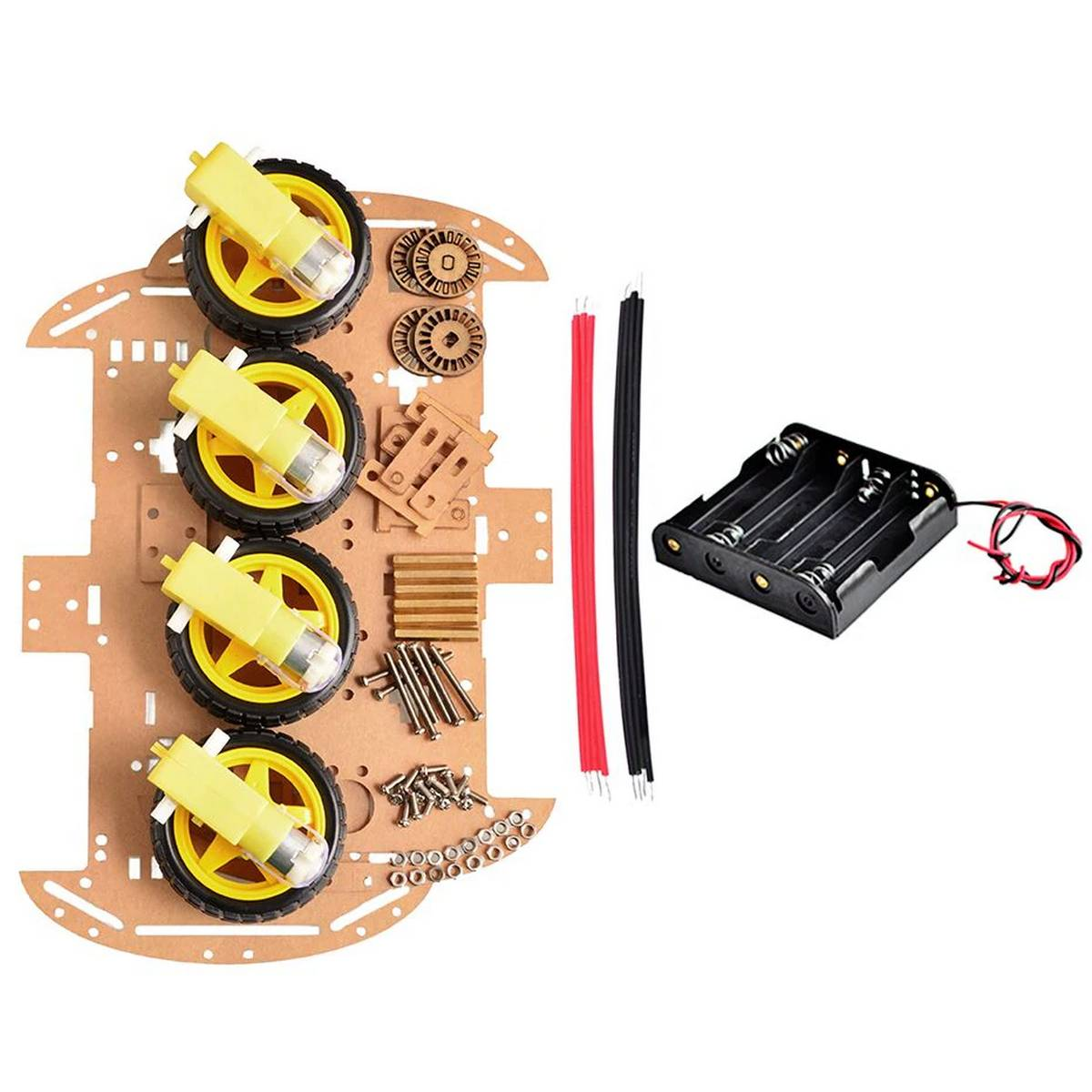 4 wheel (acrylic) Smart Robot Car Chassis 4 Wheel Kit with accessories For Diy Arduino and Raspberry pi Projects
