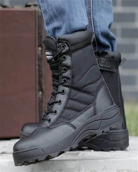 Brown Army Zipper Long Boots For Men