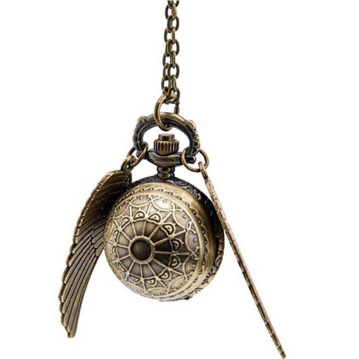 Elegant Snitch Quartz Fob Pocket Watch Pendant Necklace Chain for Men Women