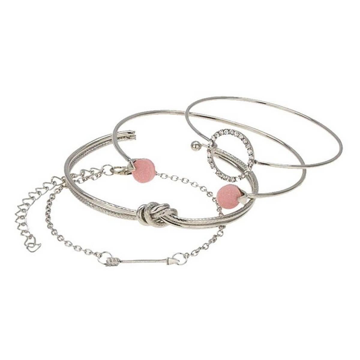 Cute Romantic Bracelet Set For Women Jewelry Bohemian Gold Silver Geometric Metal Arrow Shiny Rhinestones Woman Bracelet