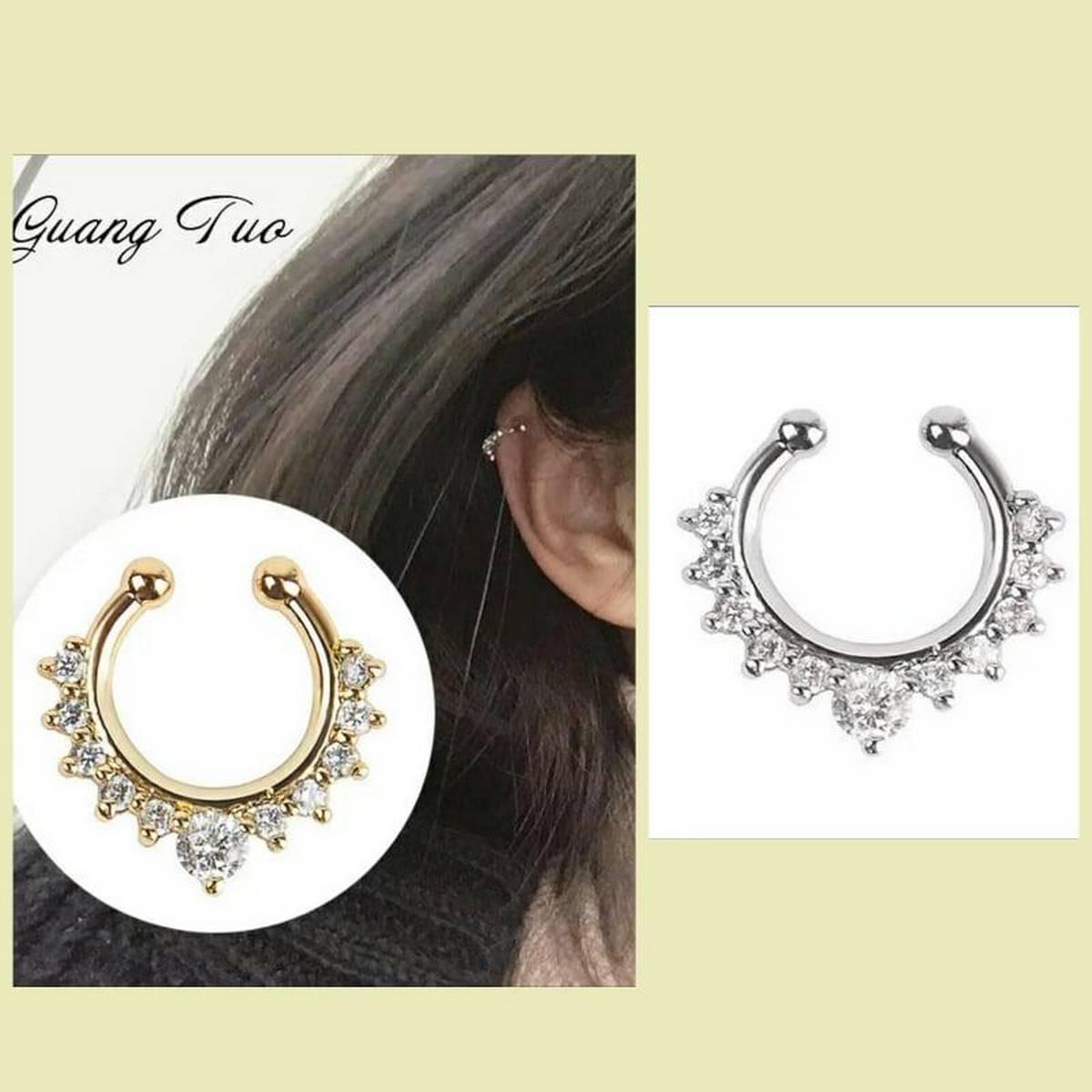 Girls Silver Crystal Rhinestone Ear cuff Trendy Fashion WOmen Eairrings - 01 Piece