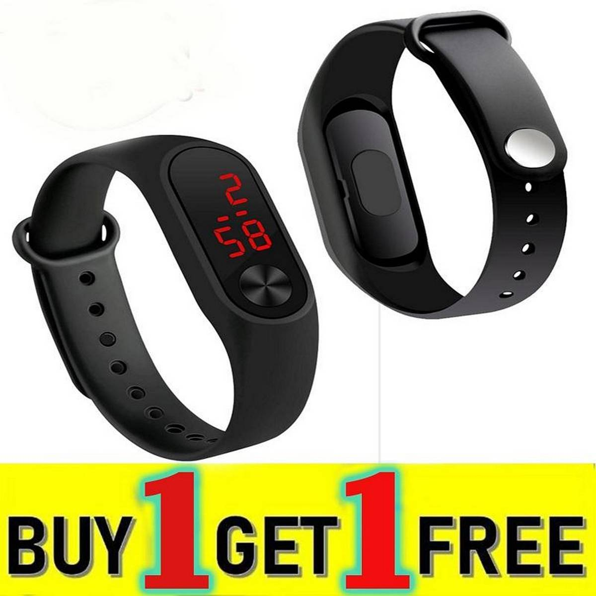 Pack of 2 Touch Led Bracelet Digital Watch Band Buy One Get One Free
