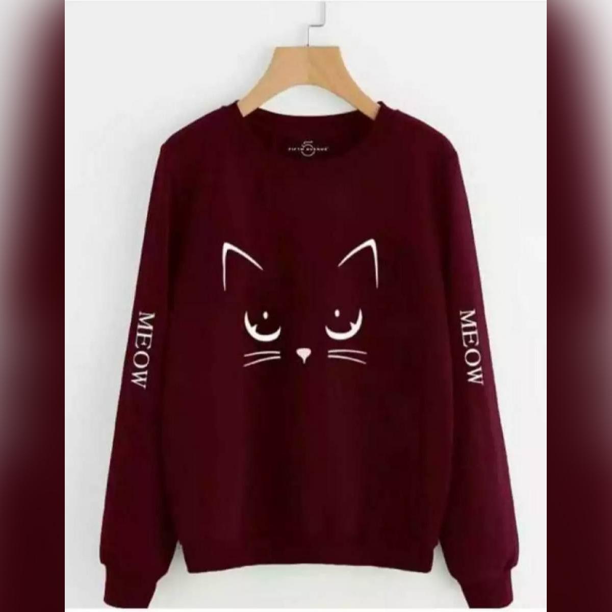 Black flower Printed Maroon Meoww Printed Sweatshirt