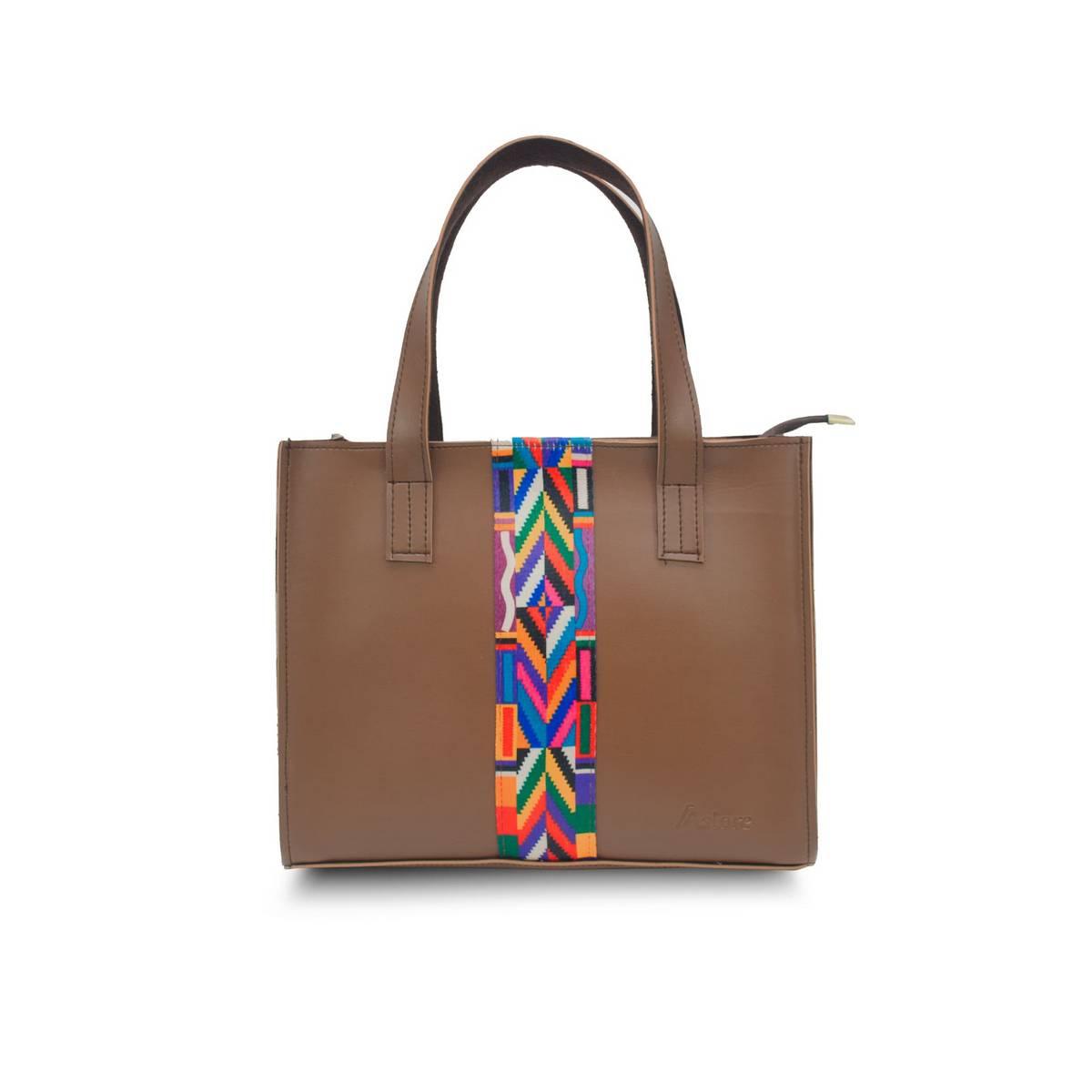 Astore Brown Double Compartments Vegan Leather Colorful Aztec Strip Casual Hand Bag Shoulder Bag Cross Body Bag Handle Bag