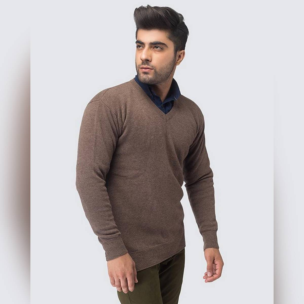 Oxford 100% Lambswool Brown Full Sleeve Sweater For Men