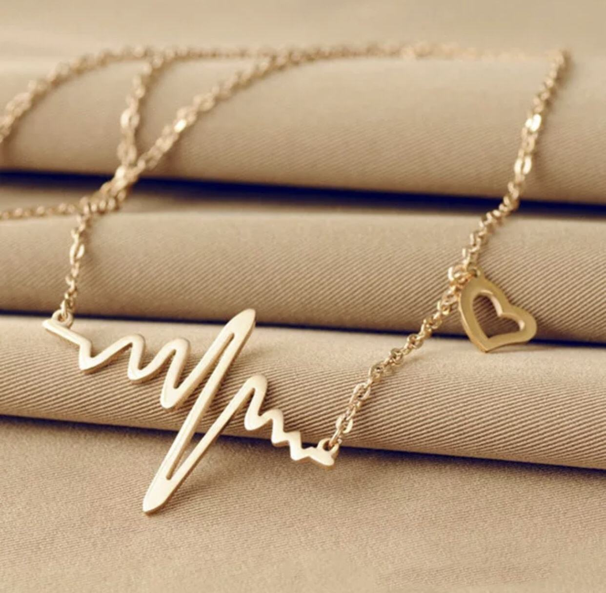 Ecg Necklace Heart Beat Wave Necklace Pendant For Women
