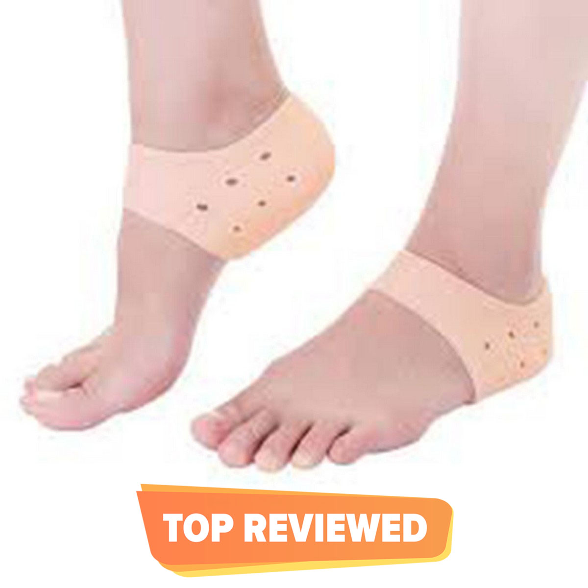 1 Pair (2PCS) Silicone Gel Heel Crack Protector Anti Crack Moisturizing Foot Pain Care Leg Pain Relief Heel Socks Tumit Sakit Non-Slip Silicone Sock (Human Skin Color)