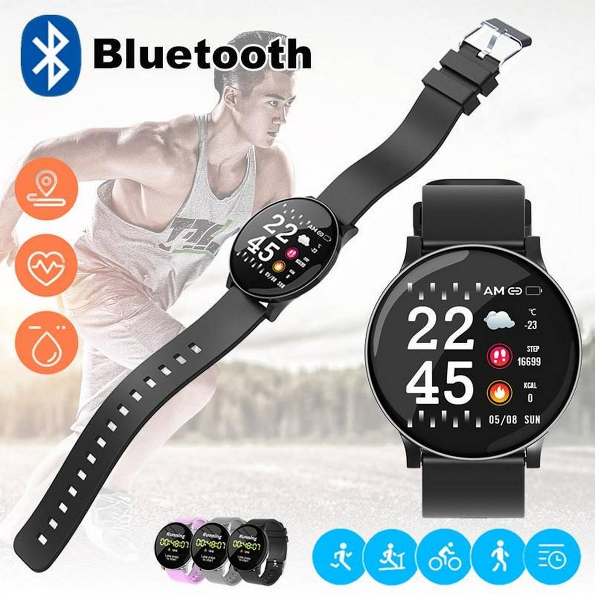 D18 Fitness Tracker Smart Watch Band IP65 Waterproof Bluetooth Sport Intelligent Wrist For Call Reminder Motion Detection Device For Xiaomi,Apple,,OPPO,Samsung,Huawei,Redmi