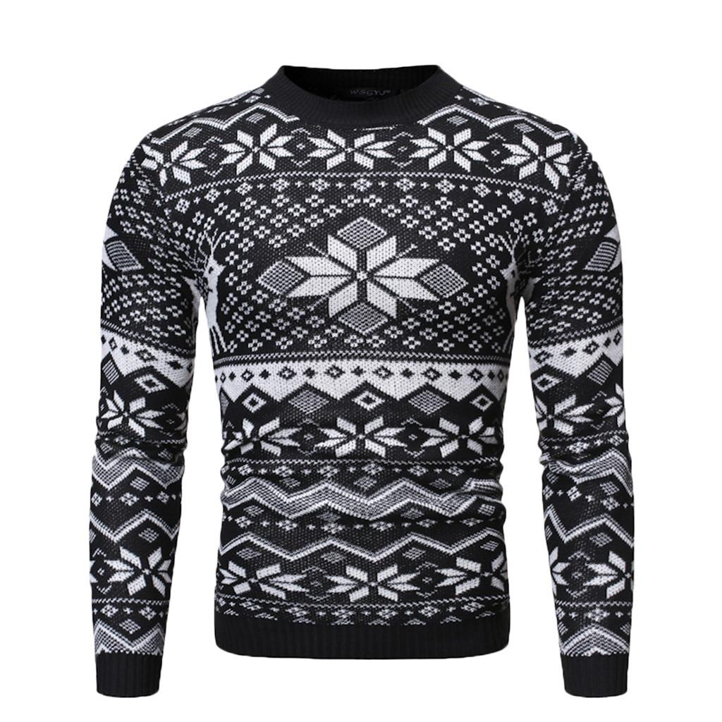 Men's Autumn Winter Warm Pullover Christmas Print Knitted Sweater Blouse Tops  #R651207102