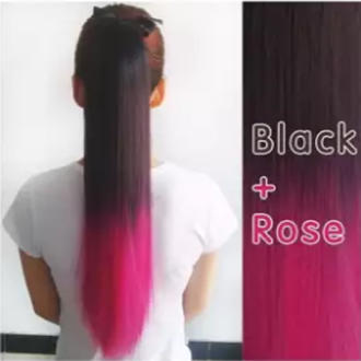 Clip In Straight Synthetic Hair Extensions - 24 Inch -Black & Rose