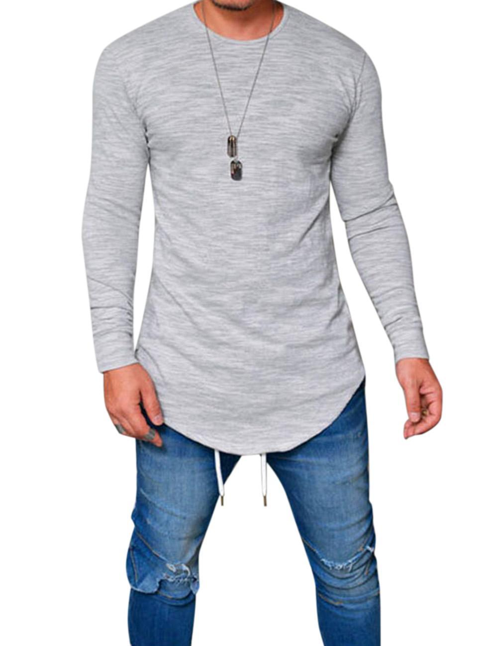 4acc467da9684f Product details of Free Spirit Men Simple Casual Solid Color Round Neck T- shirt Slim Long Sleeve Tops Clothes