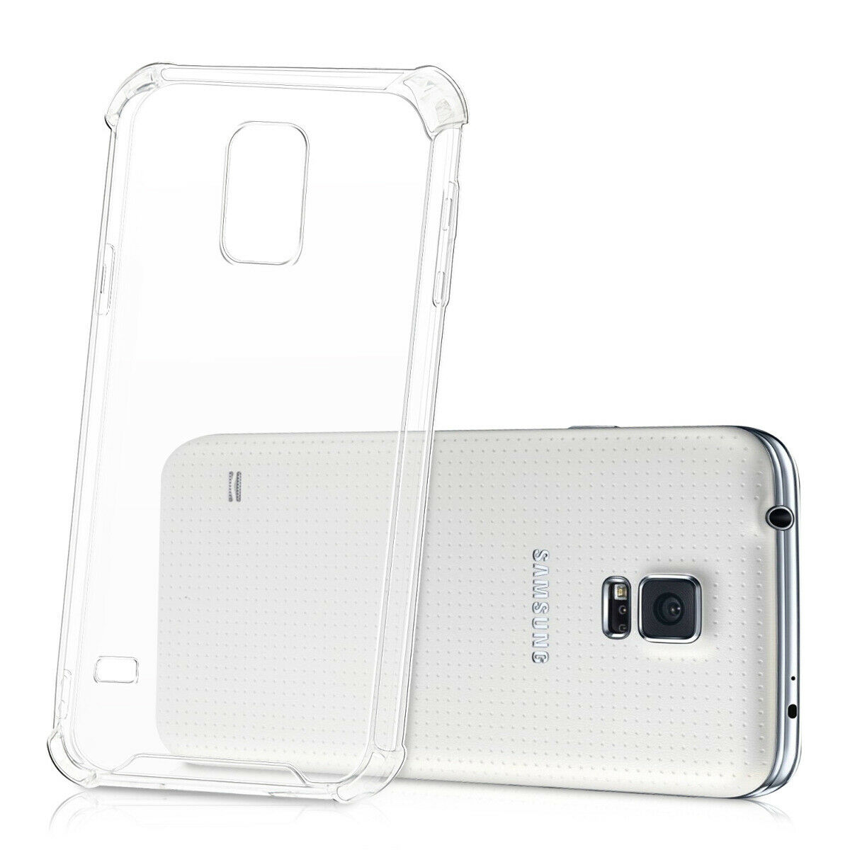 Samsung Galaxy S5 Airbag Case Anti Shock and Anti-Scratch Resistant Clear View Transparent Silicone Back Cover
