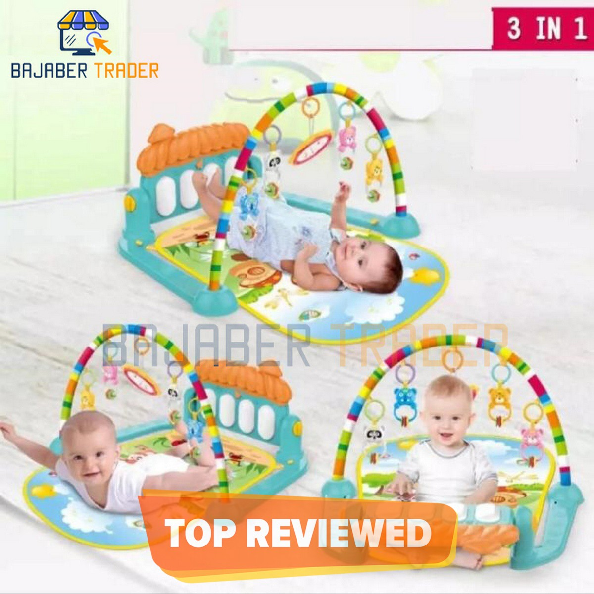 Huanger 3 In 1 Newborn Baby Toddler Activity Play Gym Piano Fitness Rack Mat