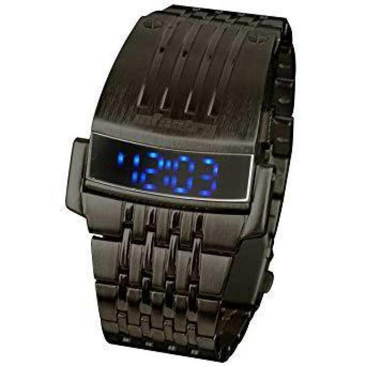 Stainless Steel Blue LED Digital Wrist Watch For Men