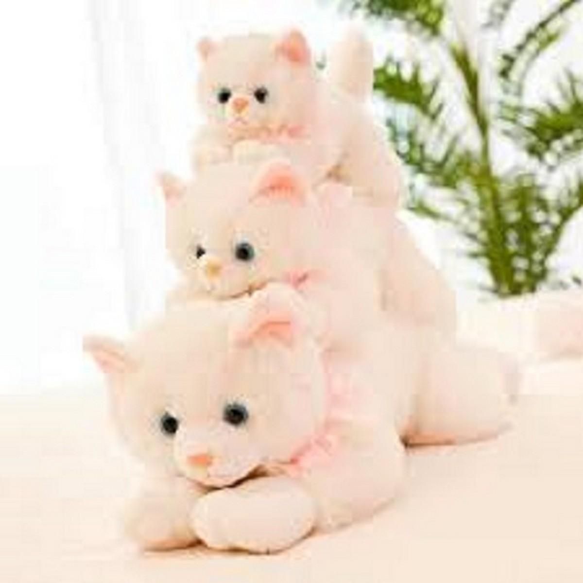 APC Realistic Kitten Cat Lifelike Plush Kitten Toy Plushie Soft Toy Stuffed Animal Lovely Cat Cartoon Animal Plush Soft Doll Toy Pillow For Girl Kids Birthday Gifts