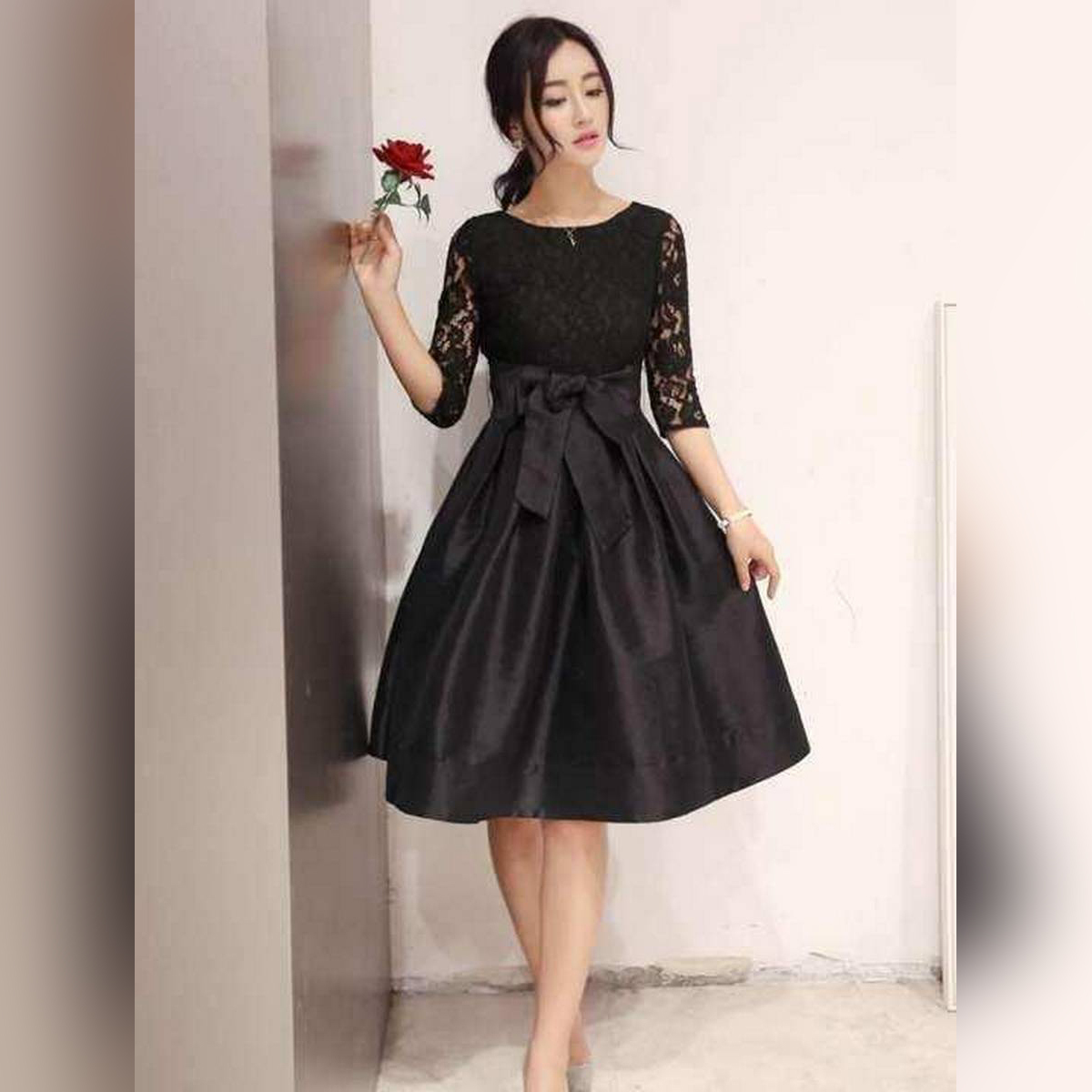 Meeza Fashionstore Black Stylish Net with Bow Belt Frock for Women