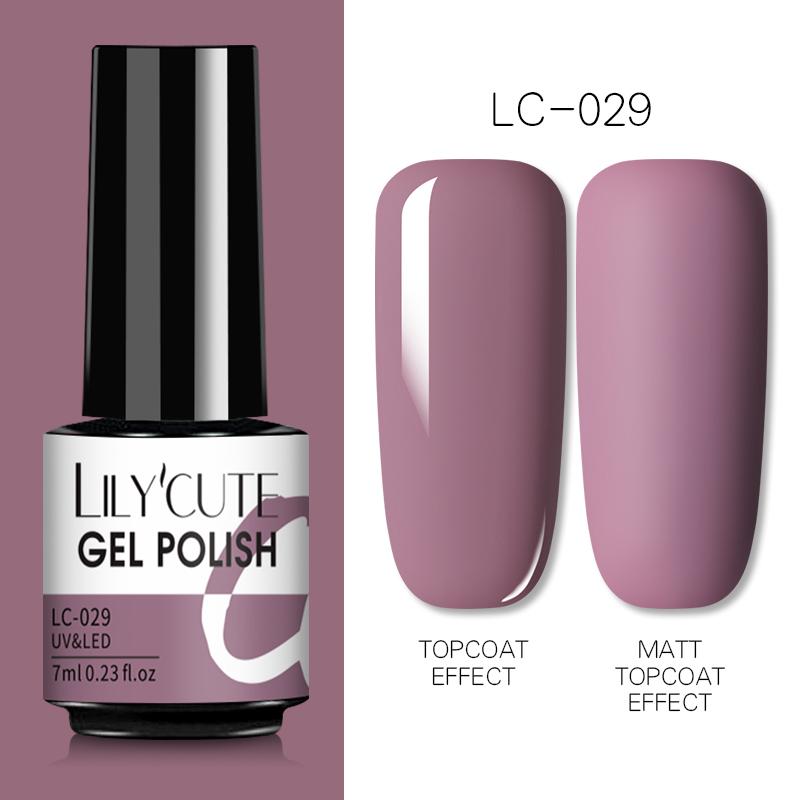 LILYCUTE 7ml Nail Gel Polish Semi Permanent Gel Varnish Base Top Coat UV LED Gel Varnish Soak Off Nail Art Gel Nail Polish