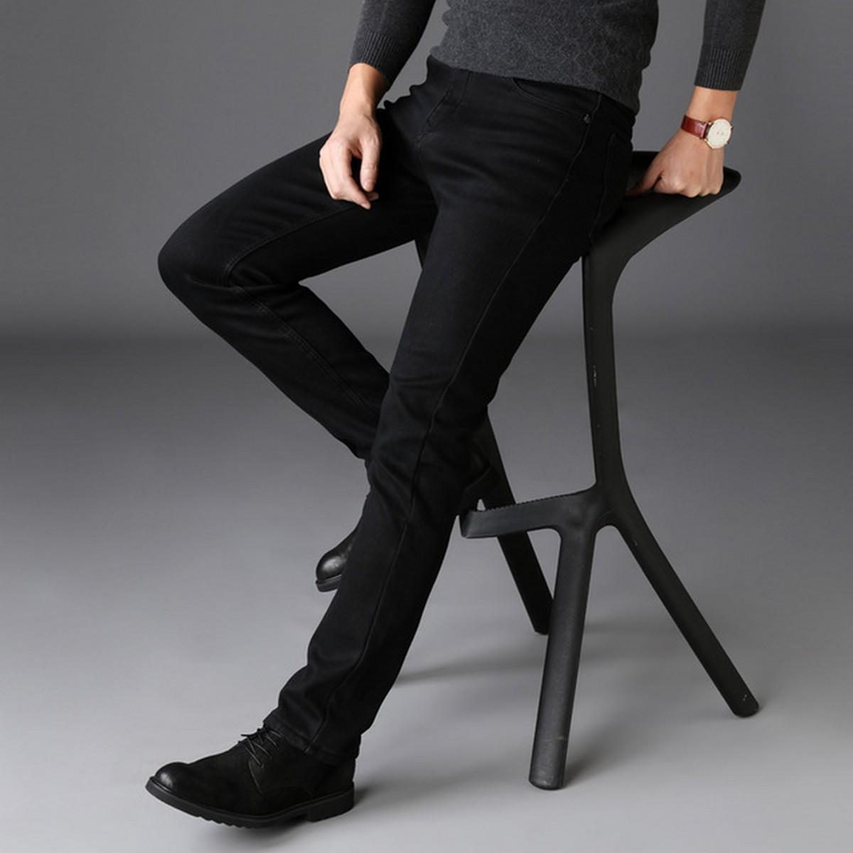 Men Classic Jeans Jean Soft Black Classic Denim Men's Pants