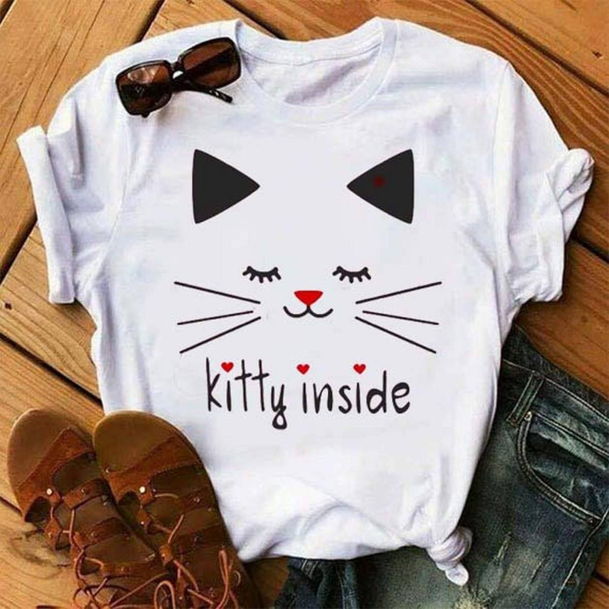T Shirt for girls new and stylish design (kitty Inside),Summer Wear ,Export Quality , Round Neck,