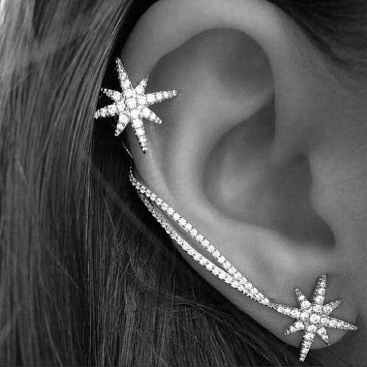 Trendy Silver Classy Cuff & Earring For Two Ears