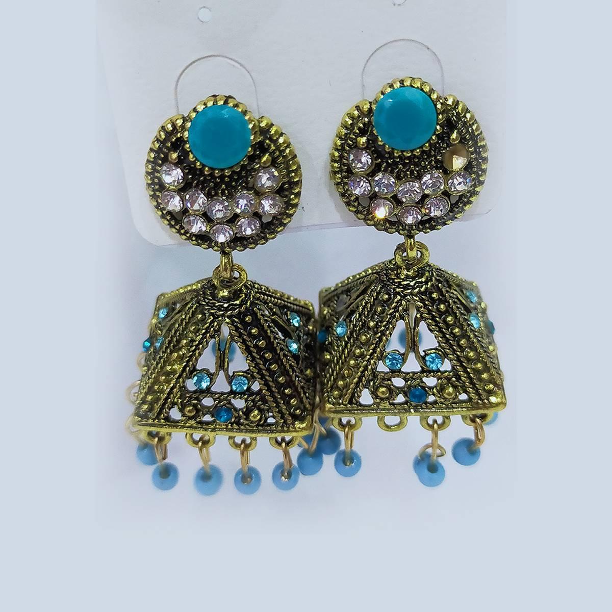Antique Jhumki Fine Earrings Multi Colors