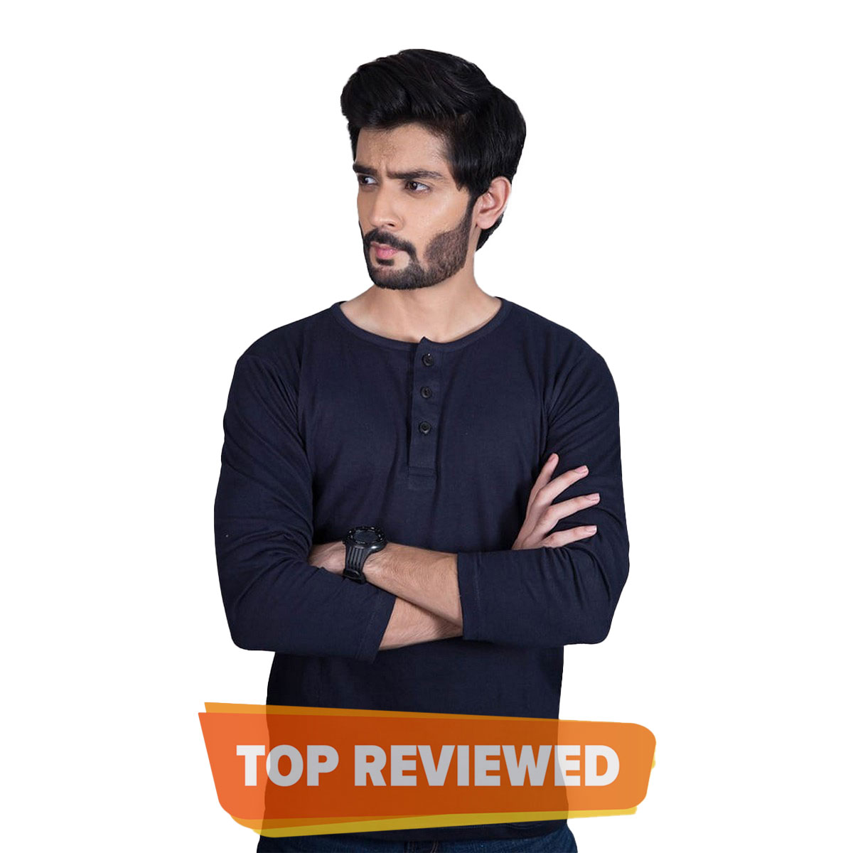 Henley Plain Full long Sleeves Tshirts for Mens- Soft Jersey cotton long sleeves shirt for men