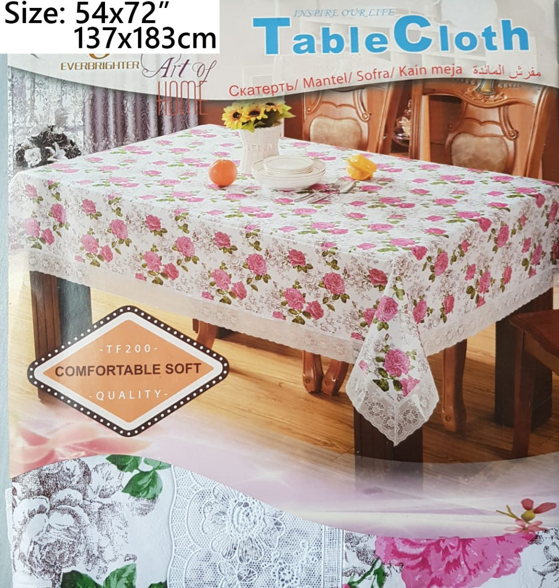 Elegant Table Cover with beautiful White Lace Border Non woven with felt like backing PVC Table cloth Protector in multiple size options