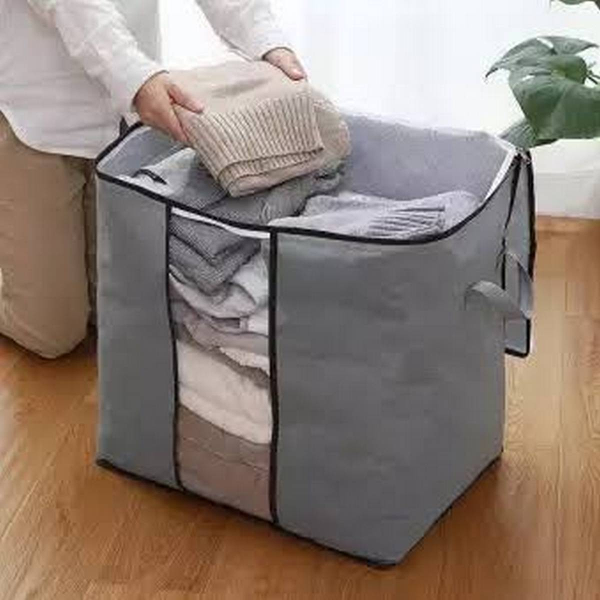 Suitcase Clothes Blanket Organizer Foldable Bamboo Charcoal Storage Bag Clear Travel Luggage Organizer Bag