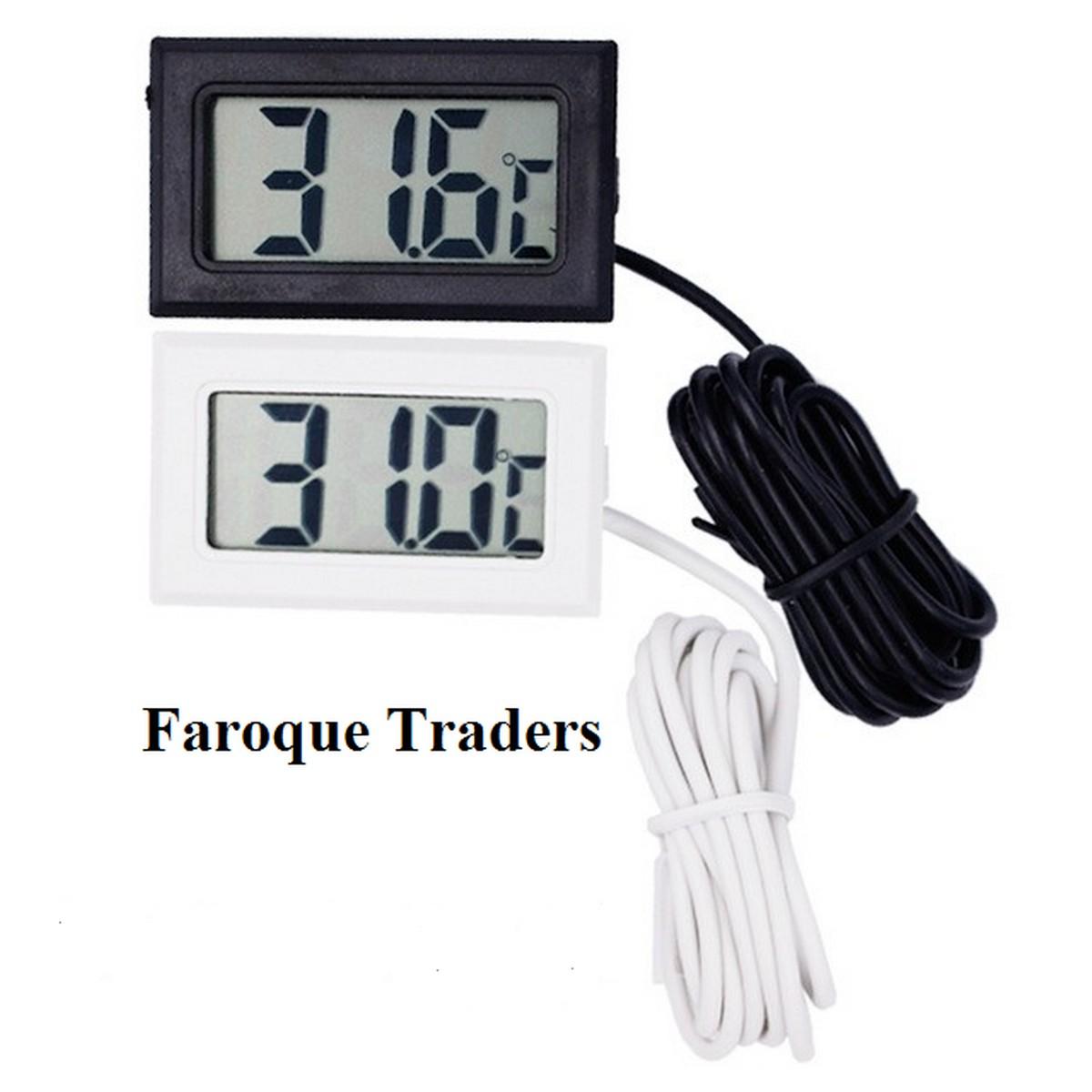 TPM10 Mini LCD Digital Instant Read Thermometer Mini Room Temperature Meter Real Time Aquarium Fish Tank Temperature Meter With Waterproof Sensor In Black/White Color