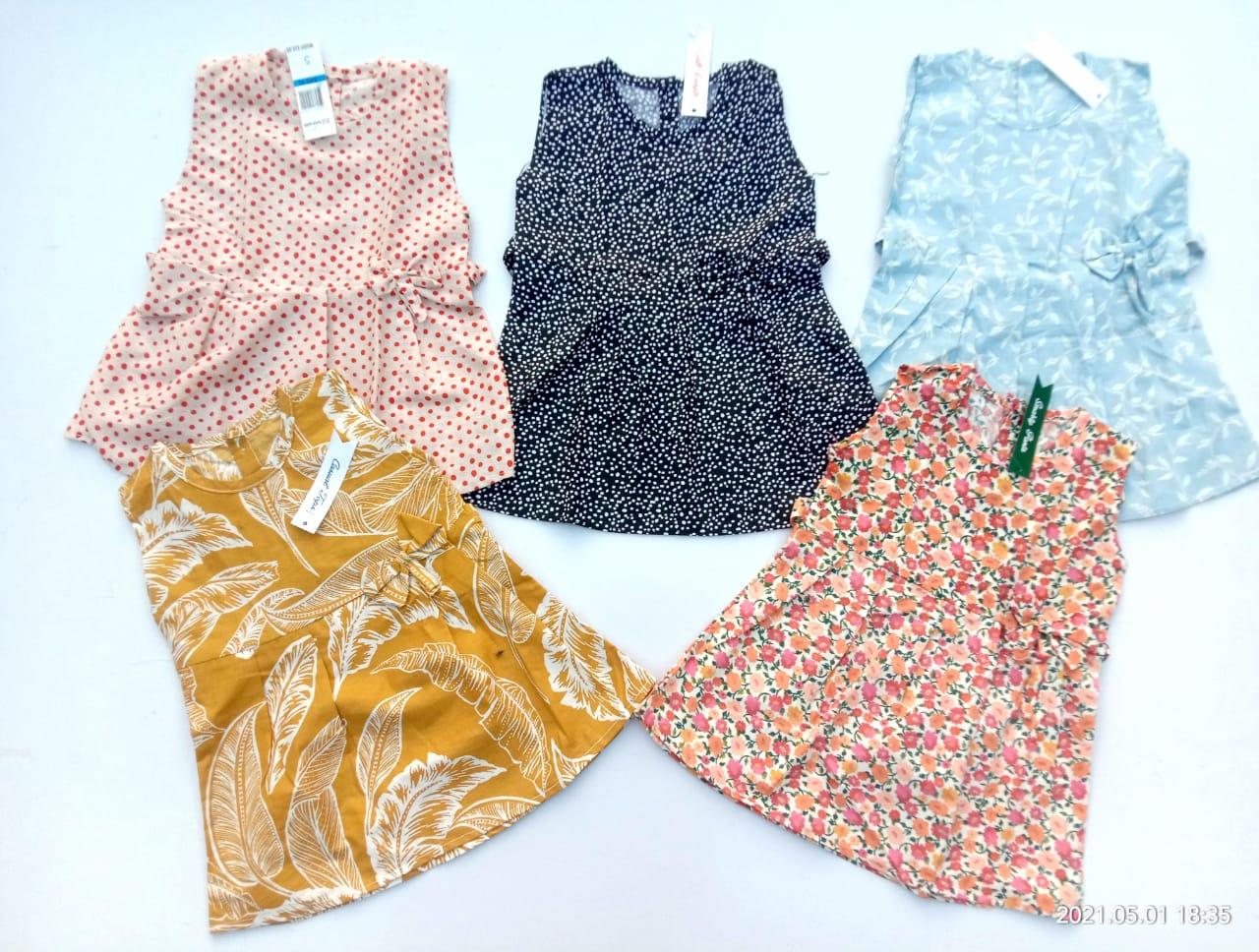 Pack Of 5 Multi-Color Printed Cotton Frock For Girls (Random Design)