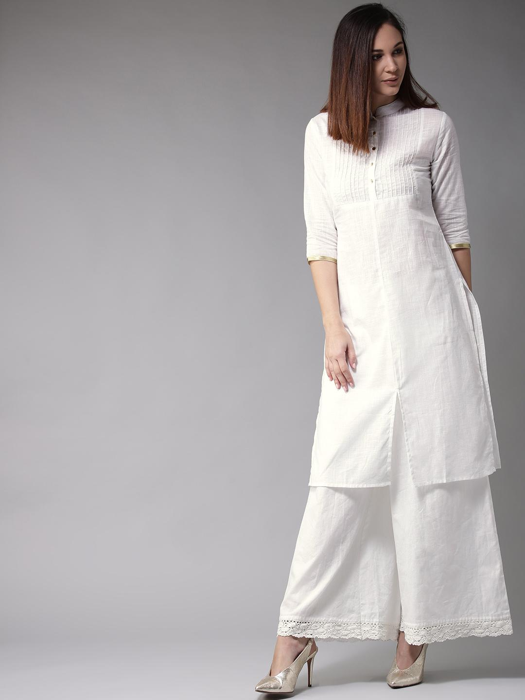 White Pleated Neck Solid Straight 2 Pcs Suit For Women. PNSS-314