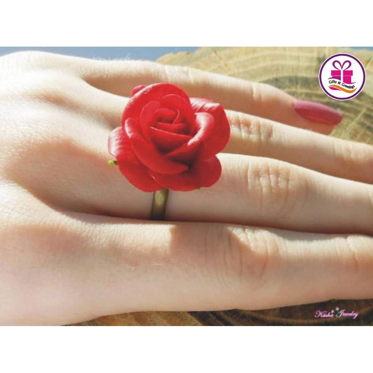 NEW STYLE Red Rose Ring, Red Flower Ring with Free Ring Box, Adjustable size ring, Gift for anniversary, birthday, engagement, valentine, eid etc / Gifts & Greetings
