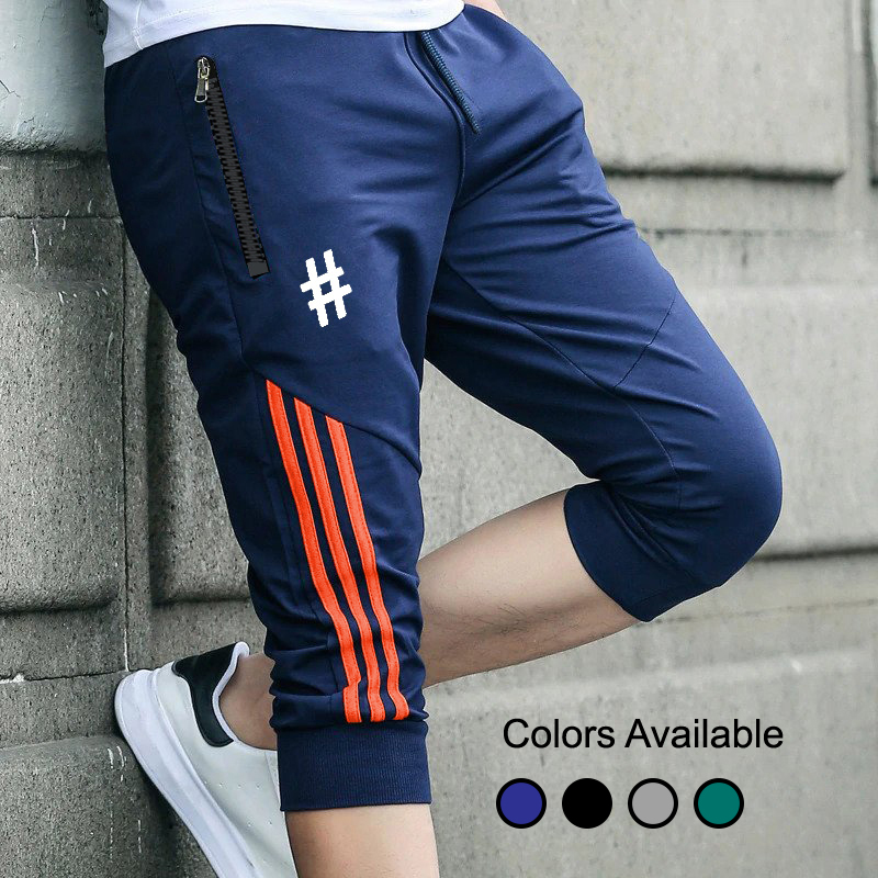 Men's Tag Printed Sports Gym Long Cotton Summer Three Quarters Shorts for Men