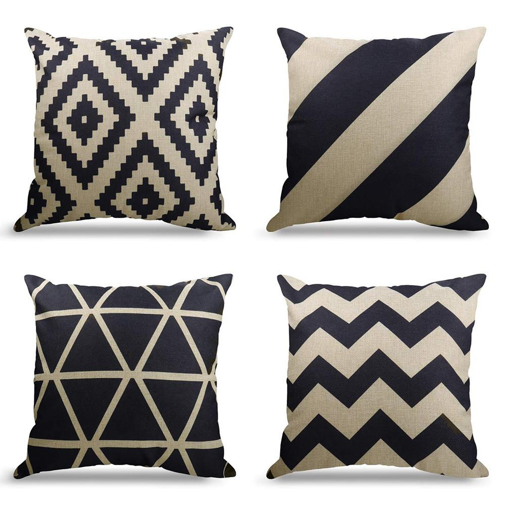 Linen Cushion Covers For Couch Decorative Set Of 4 X 18inch Cotton Geometrict Pattern Throw Pillows Covers 18 Buy Online At Best Prices In Pakistan Daraz Pk