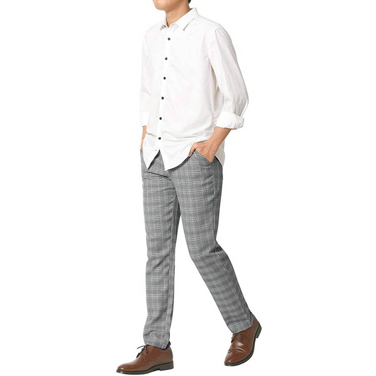 Men's Check Slim Fit Skinny Chino Pants Grey Super Stretch Pant