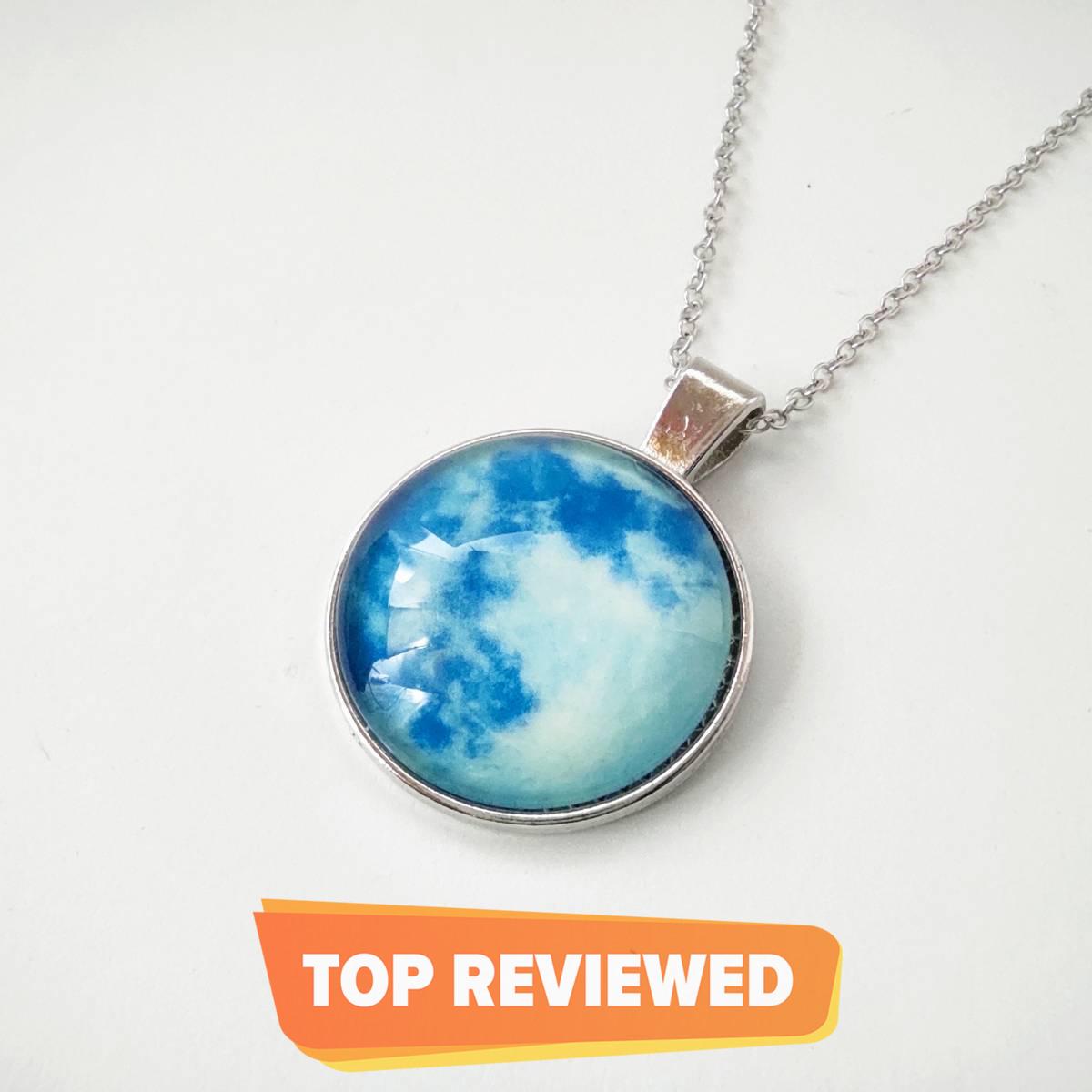 Fancy Glow In The Dark Moon Pendant Necklace