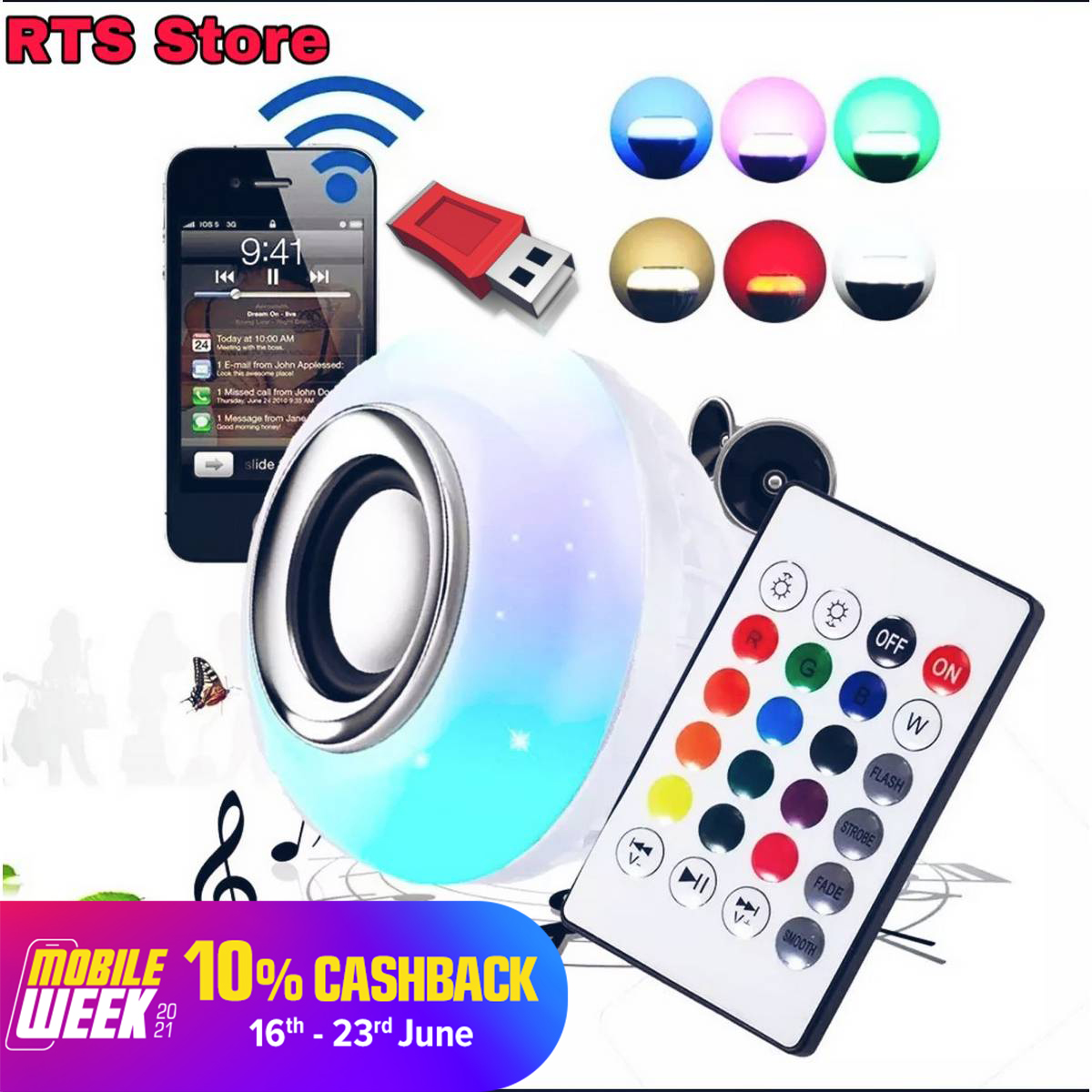 DISCO BULB 16 CLR  MUSIC LED  Bluetooth Speaker Bulb Smart+ Remote Control Wireless Disco Multi Color 12W RTS STORE