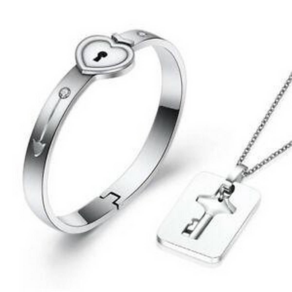 Darojay True Love Heart Lock Bracelets Bangles Key Pendant Necklace Couples