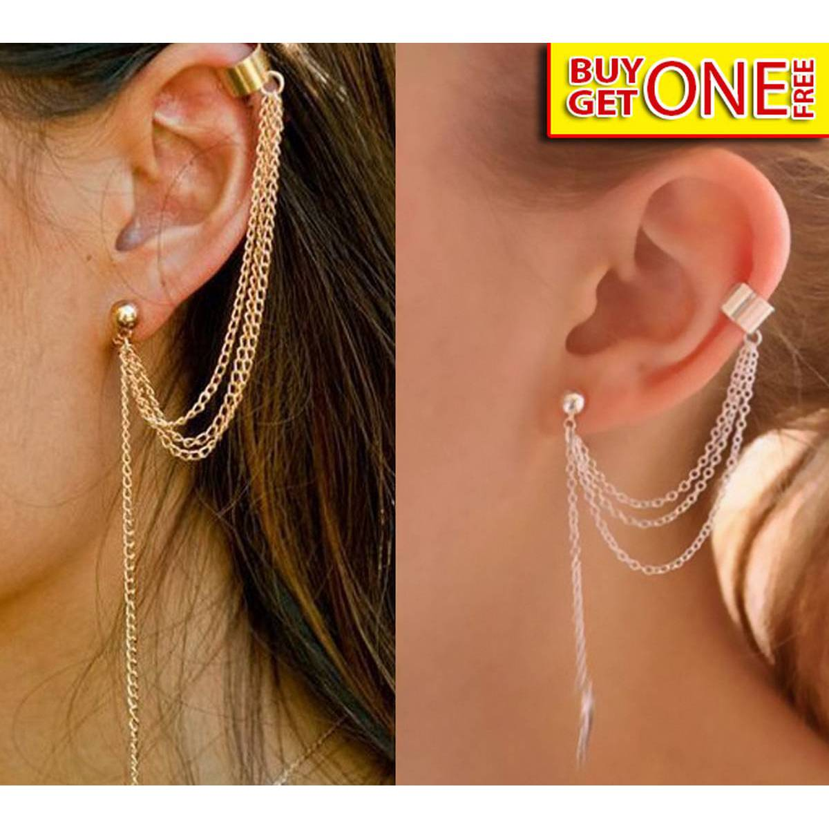 Pair of Earcuff long chain leaf tassel Stylish earrings for Girls