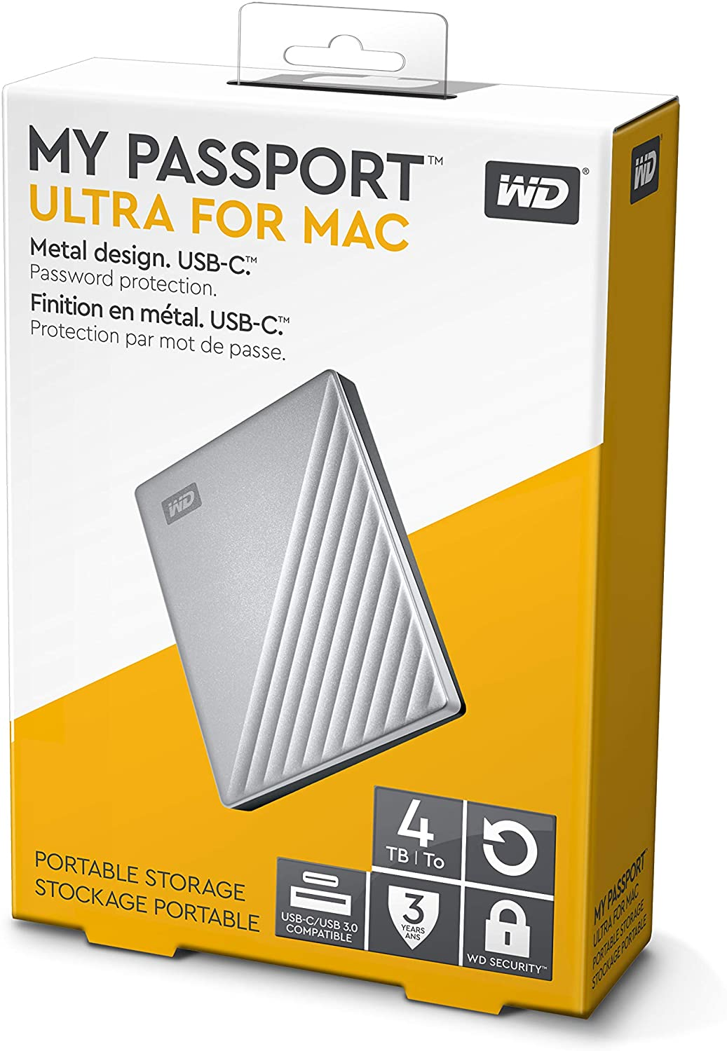 Western Digital  My Pasport Ultra For Apple Devices Portable Hard Drive 4TB - Silver