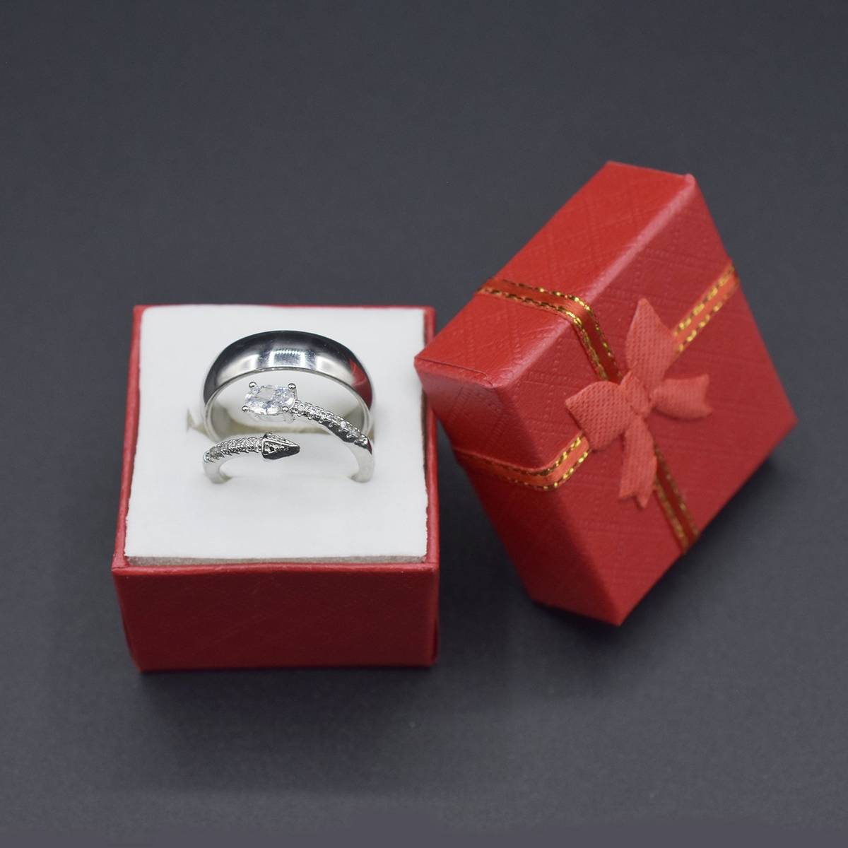 Crystal Proposal Promise Zircon Couple Rings for Girls and Boys