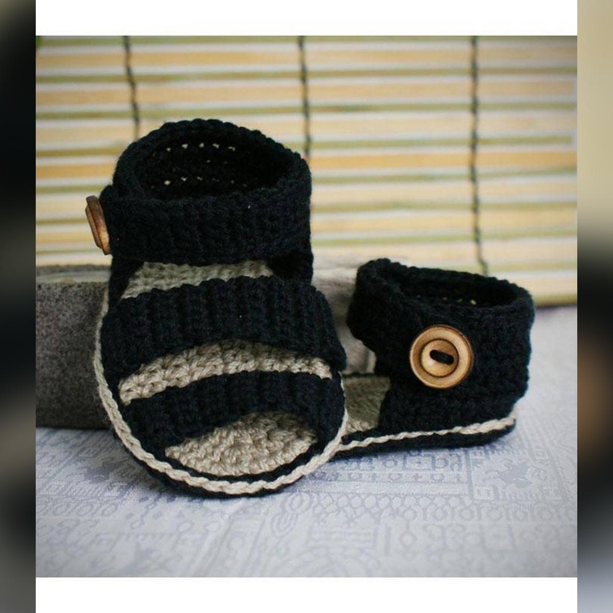 Stylish Black Woolen Handmade Crochet Baby Summer Sandal