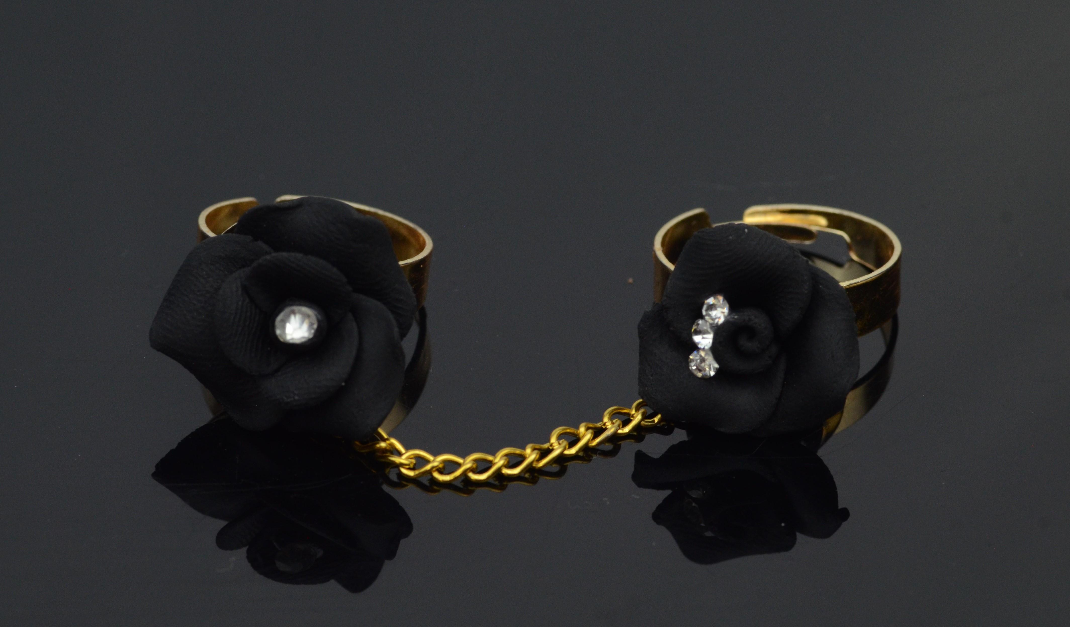 b32ef442531 Women Handmade Set of two Ring Elegant Design Black Color Polymer Clay Ring  Beautiful Women Rings Mehandi Ring Girls Barat Ring Wedding Ring
