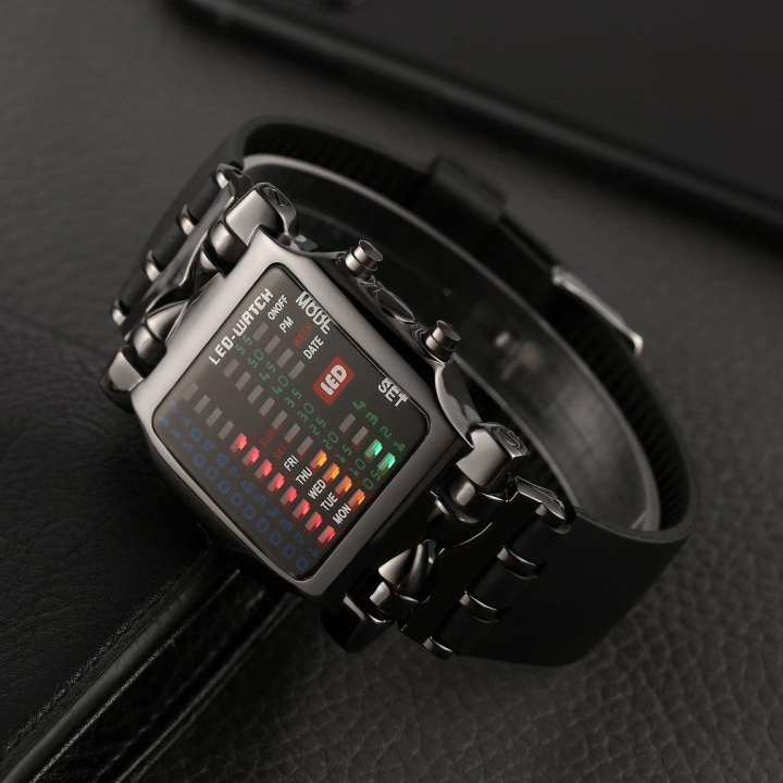 New Unisex Square Style Cool Colorful LED Digital Watch Binary Wrist Black